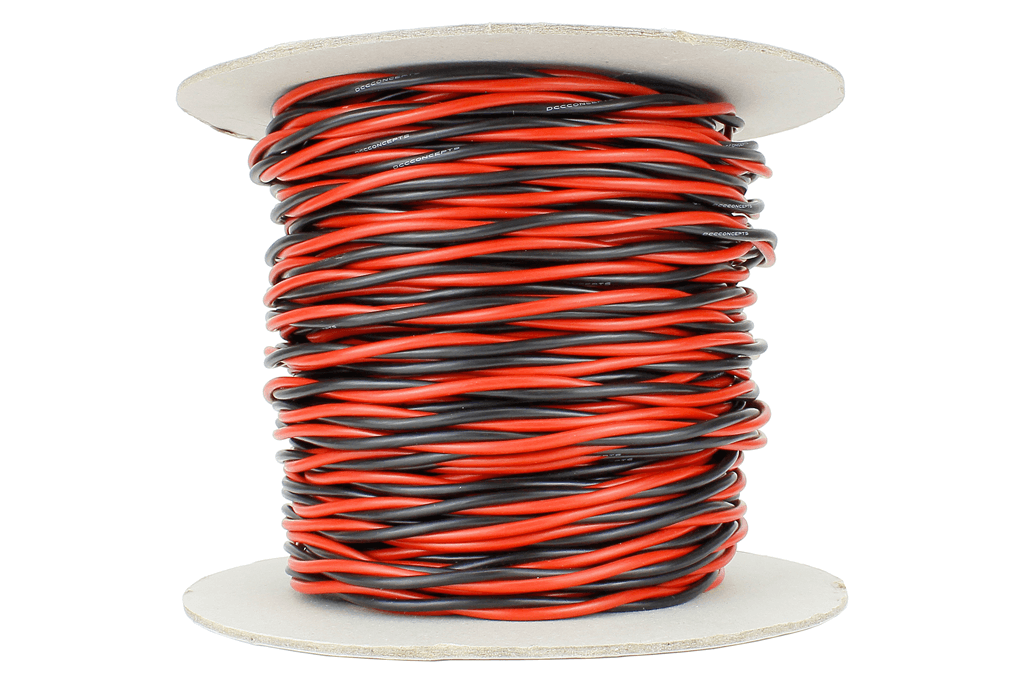 Twisted Bus Wire 50m of 2.5mm (13g) Twin Red/Black.