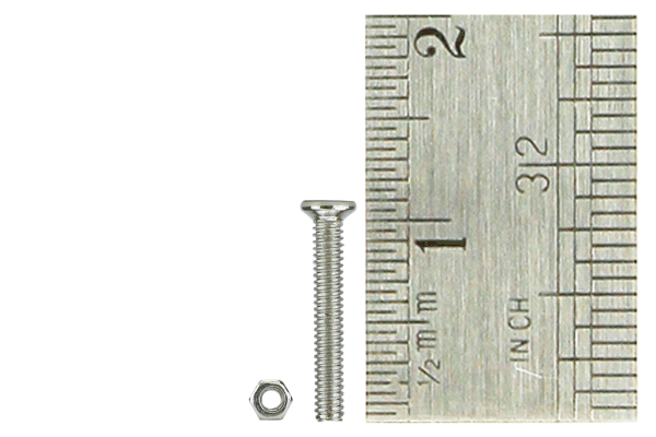 Micro Bolts (w/nuts) + head 1.4 x 10mm (60 Pieces)