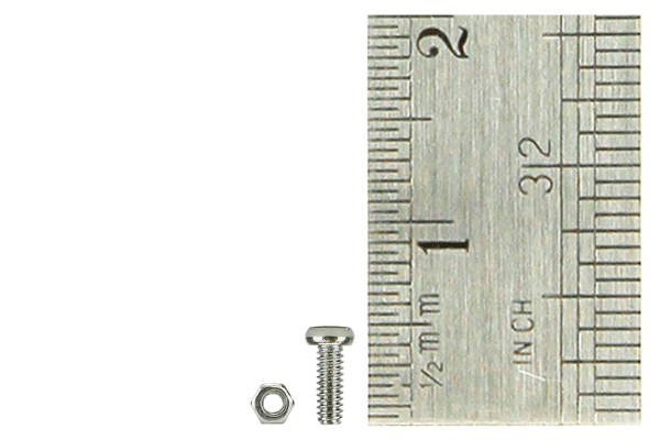 Micro Bolts (w/nuts) 1.4 x 4mm (60 Pieces)
