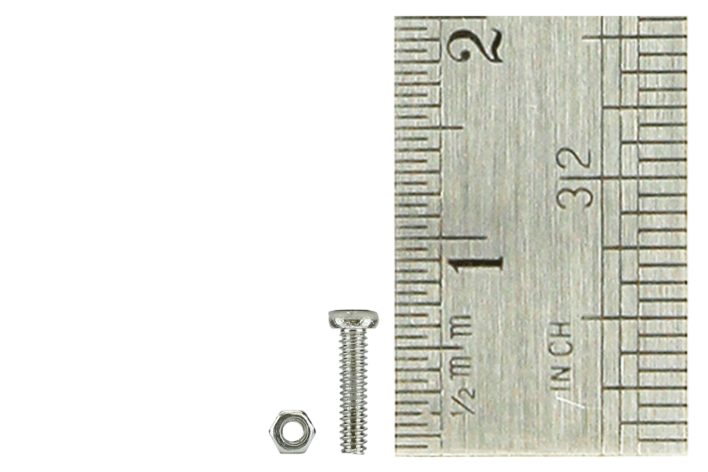 Micro Bolts (w/nuts) 1.4 x 6mm (60 Pieces)