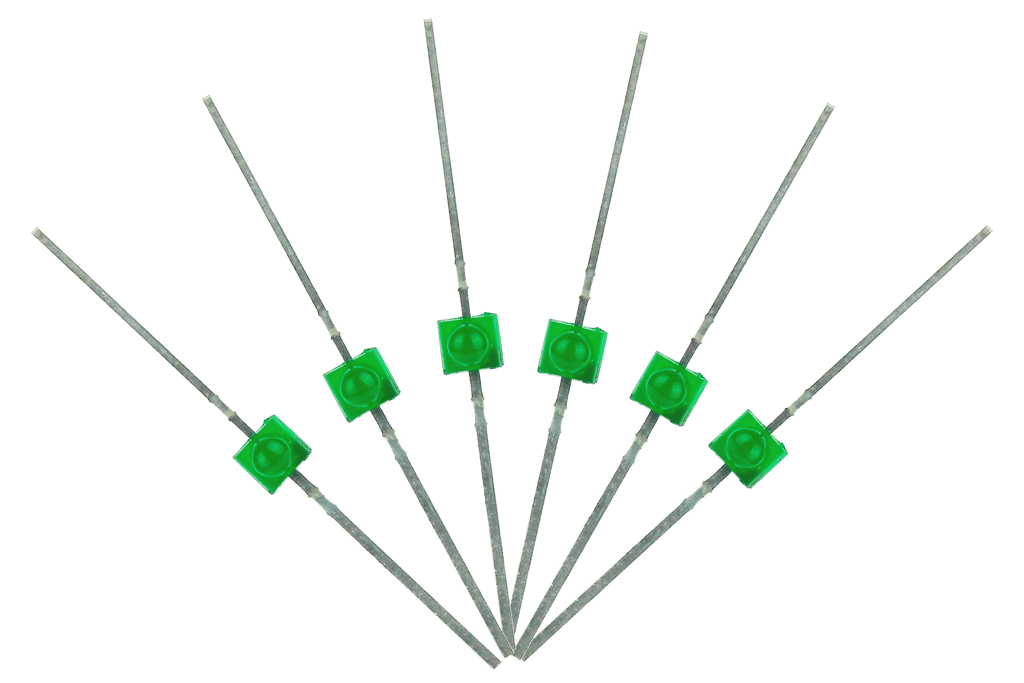 Mini Butterfly Type 6x 1.6mm (w/resistors) Green.