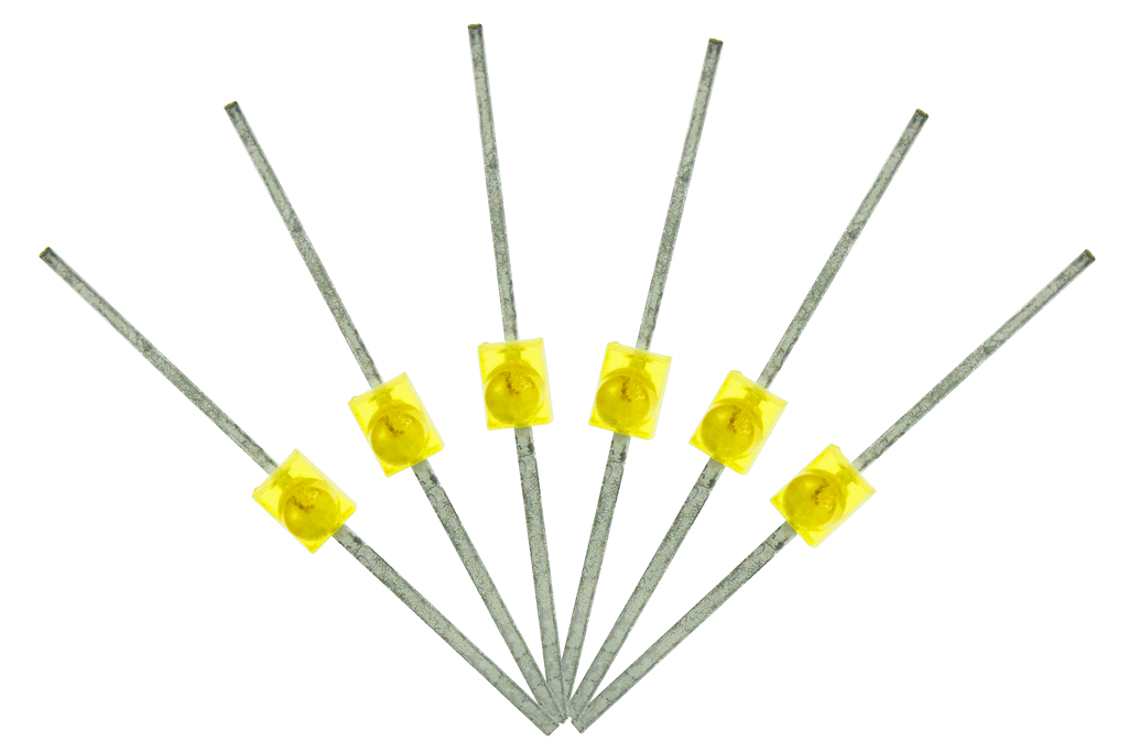 Mini Butterfly Type 6x 1.6mm (w/resistors) Yellow.